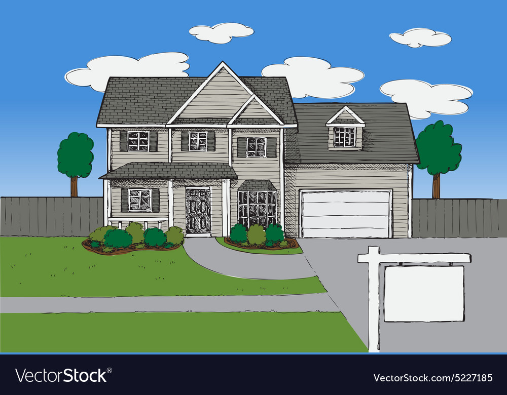 Hand drawn Real estate house