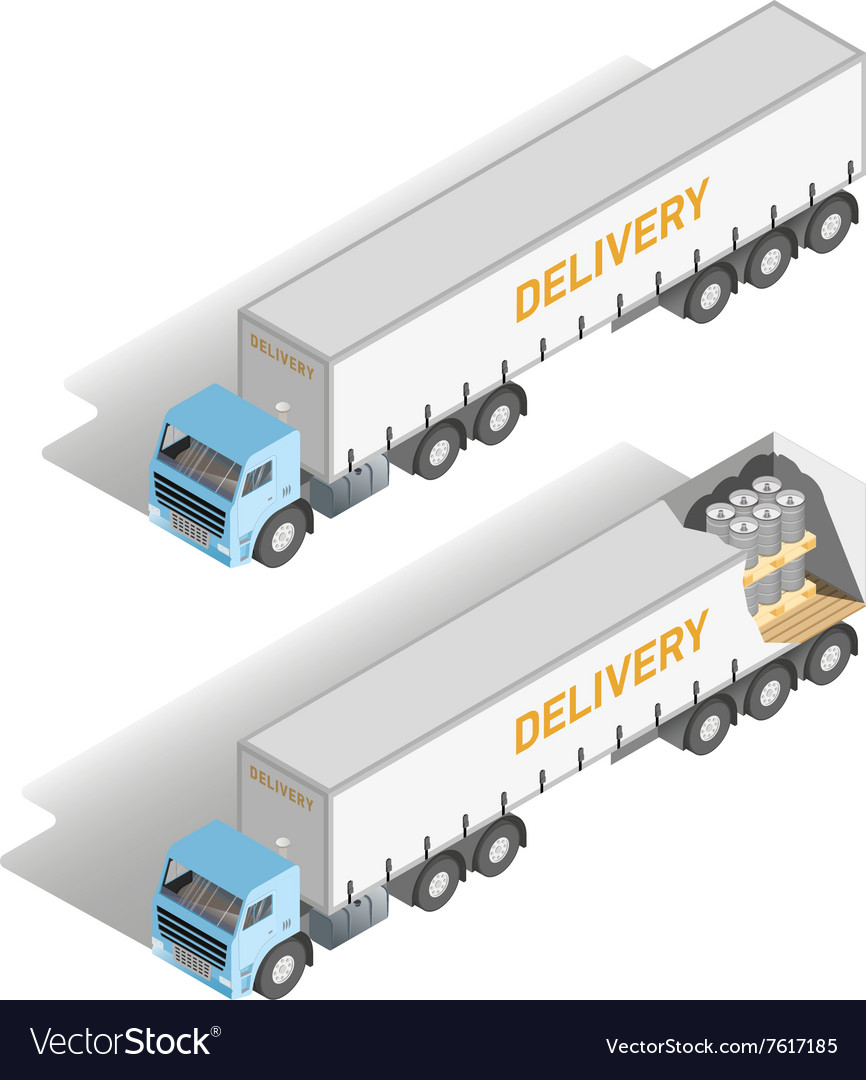 Isometric set truck inside and outside