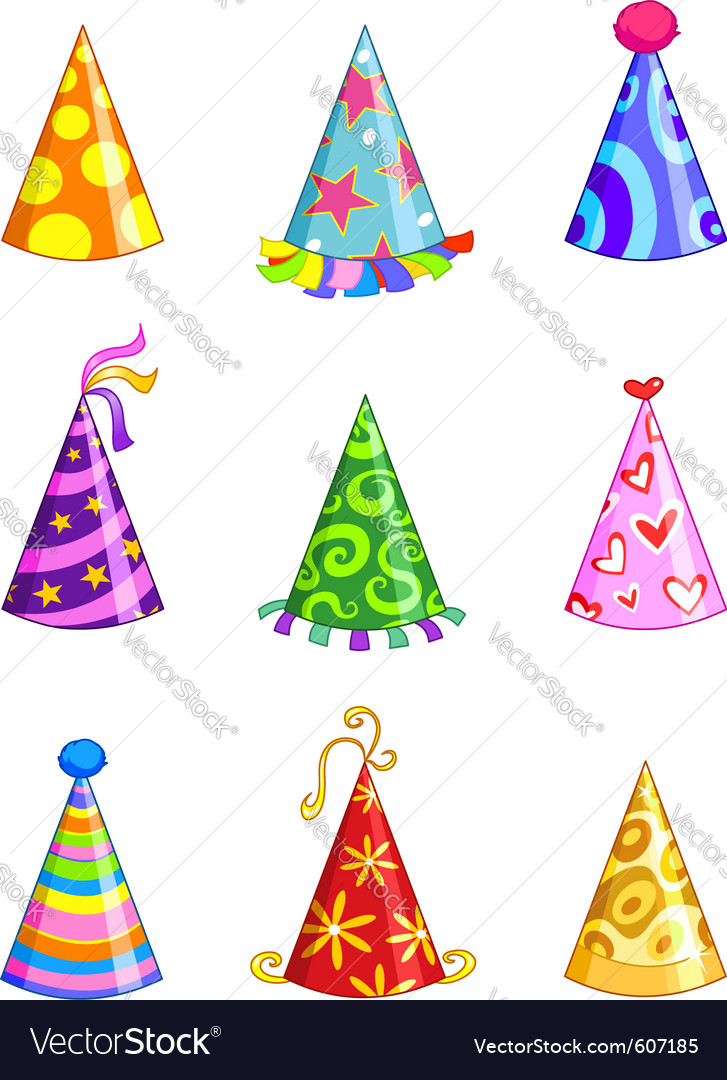 party hats royalty free vector image vectorstock rh vectorstock com party hat vector free download party hat vector free