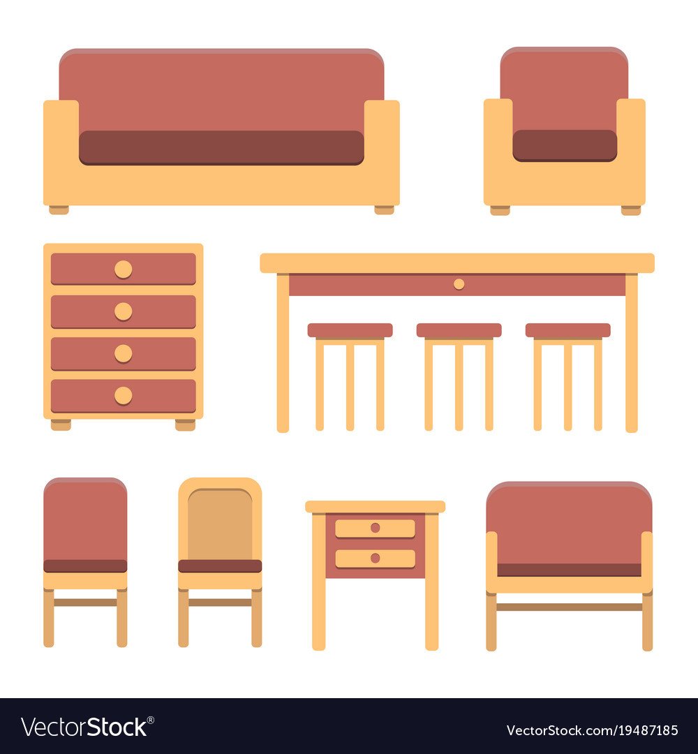Set of simple flat vintage furniture vector image