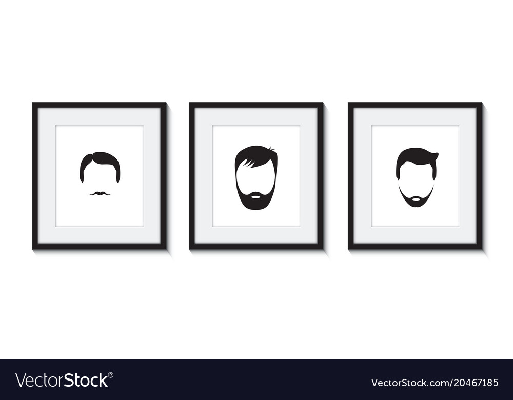 Set of three bearded men icons