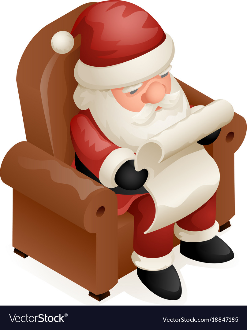 Sit armchair read gift list cute isometric 3d