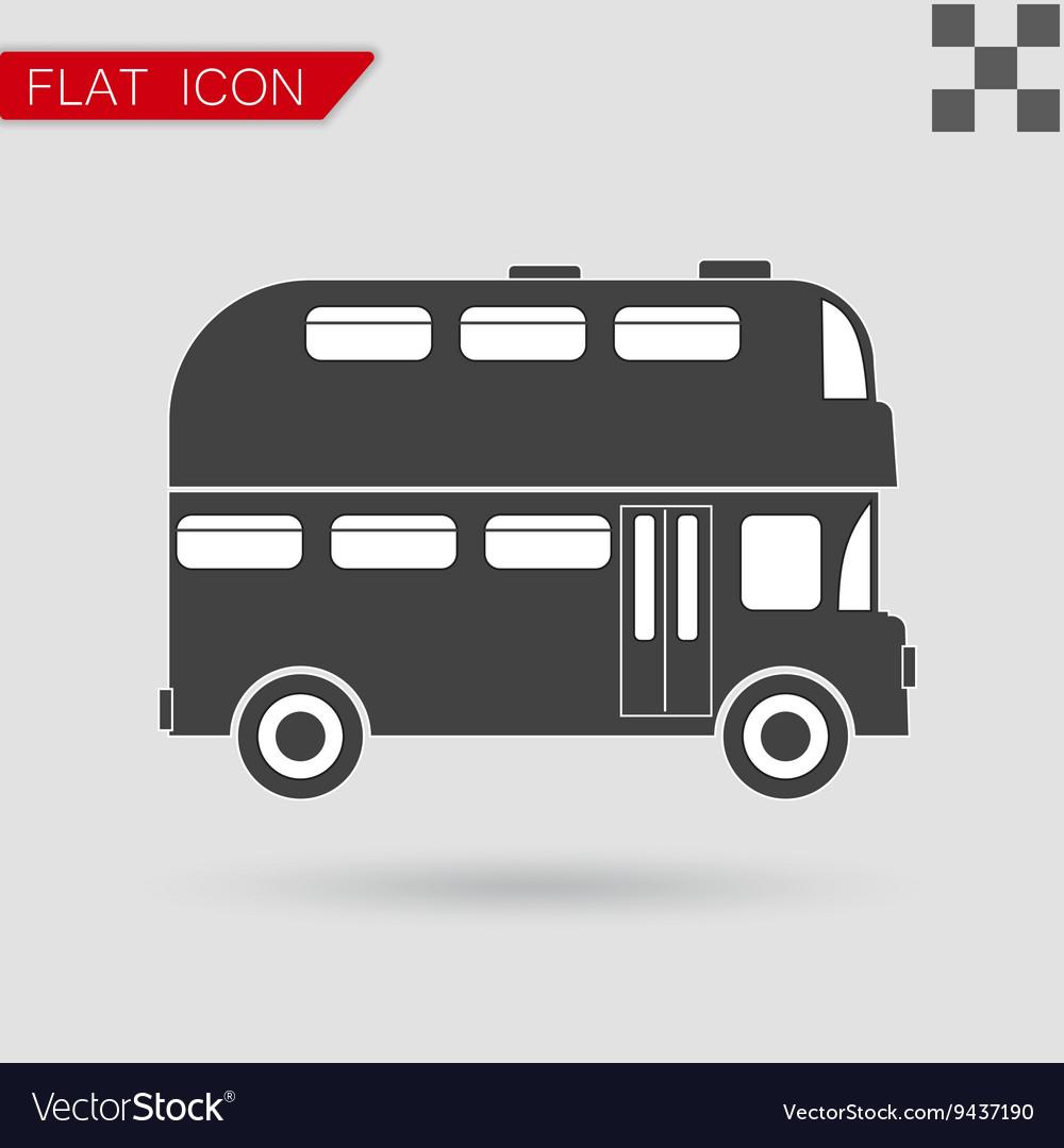 Black Double decker bus icon vector image