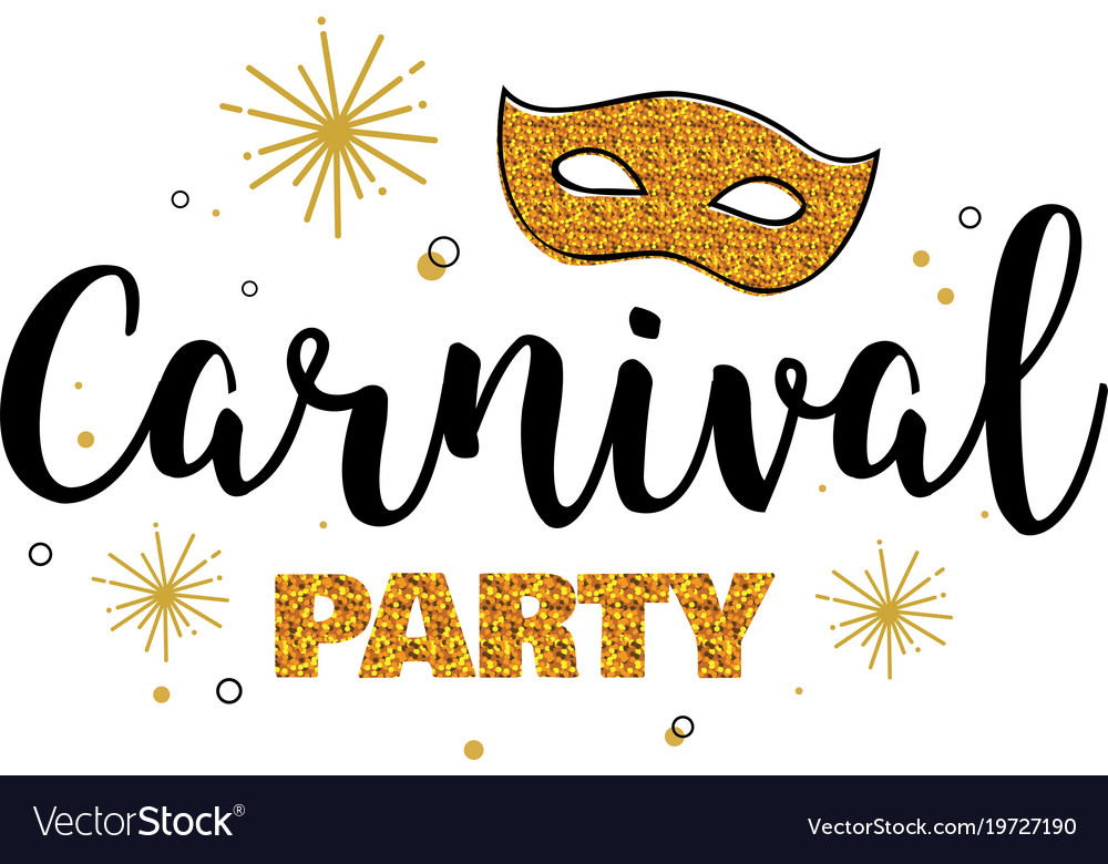 Carnival party template design with glitter gold