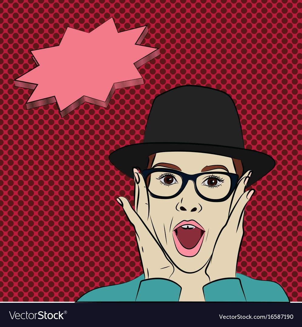 Cartoon surprised girl in eyeglasses holding her