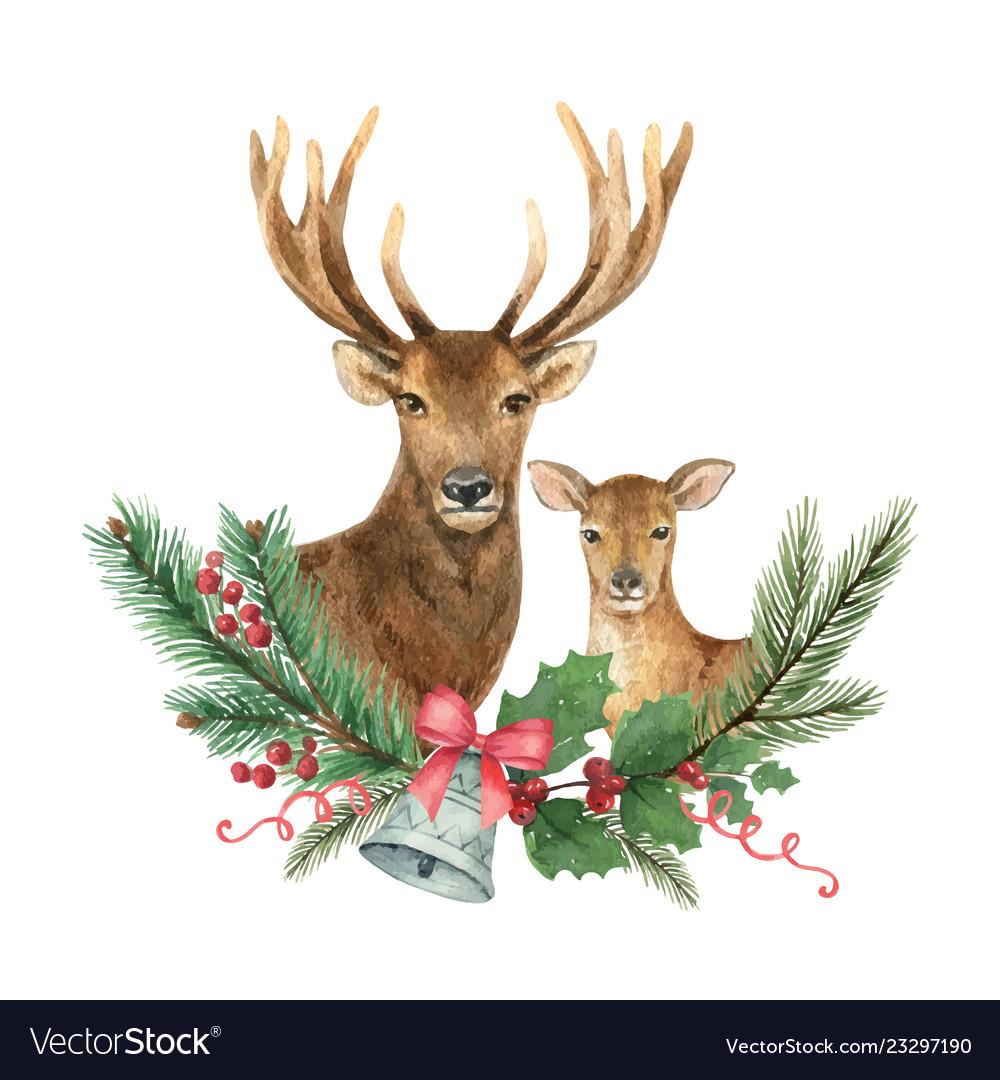 Christmas reindeer with a green fir branch