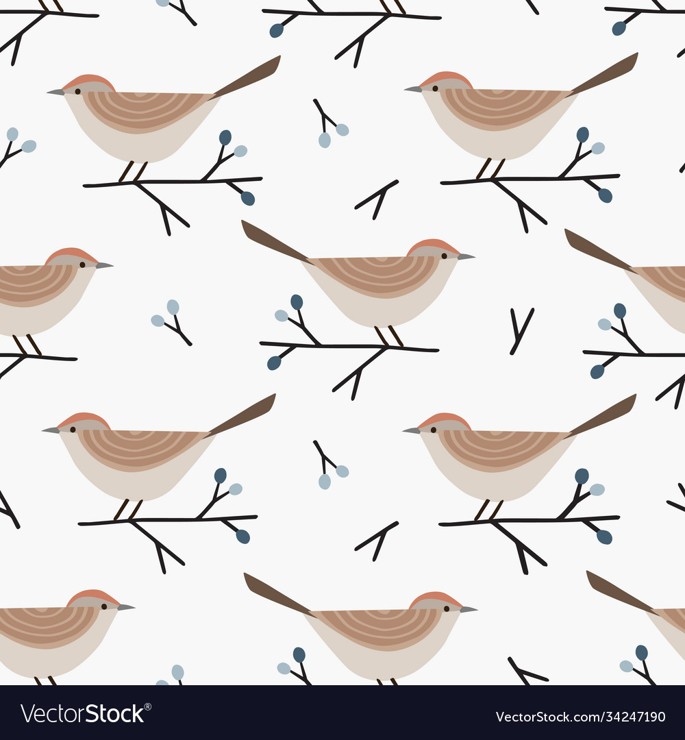Christmas seamless pattern with cute little birds
