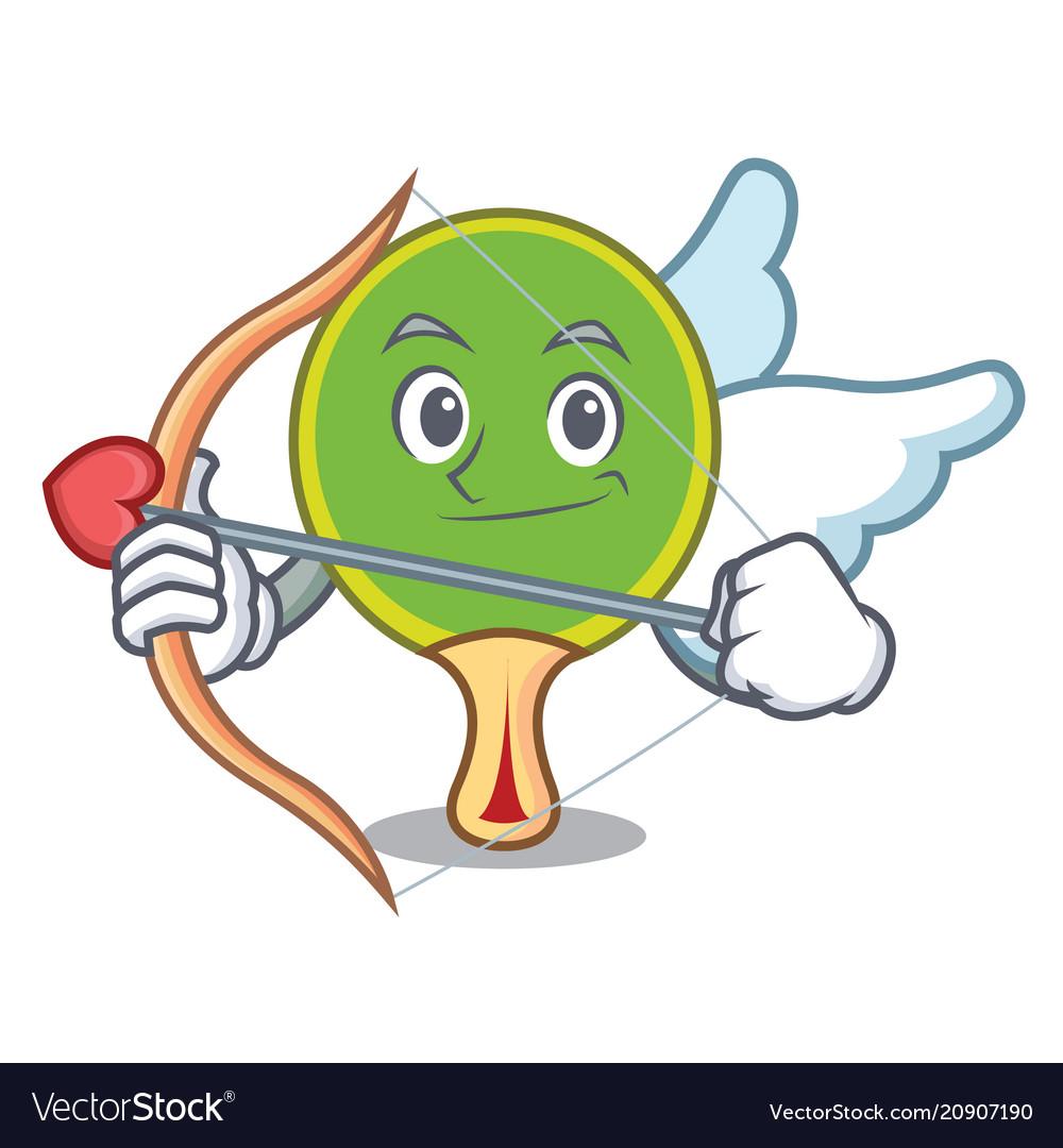 Cupid ping pong racket character cartoon