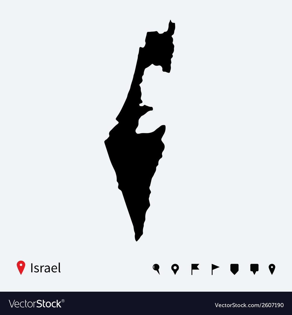High detailed map of Israel with navigation pins vector image