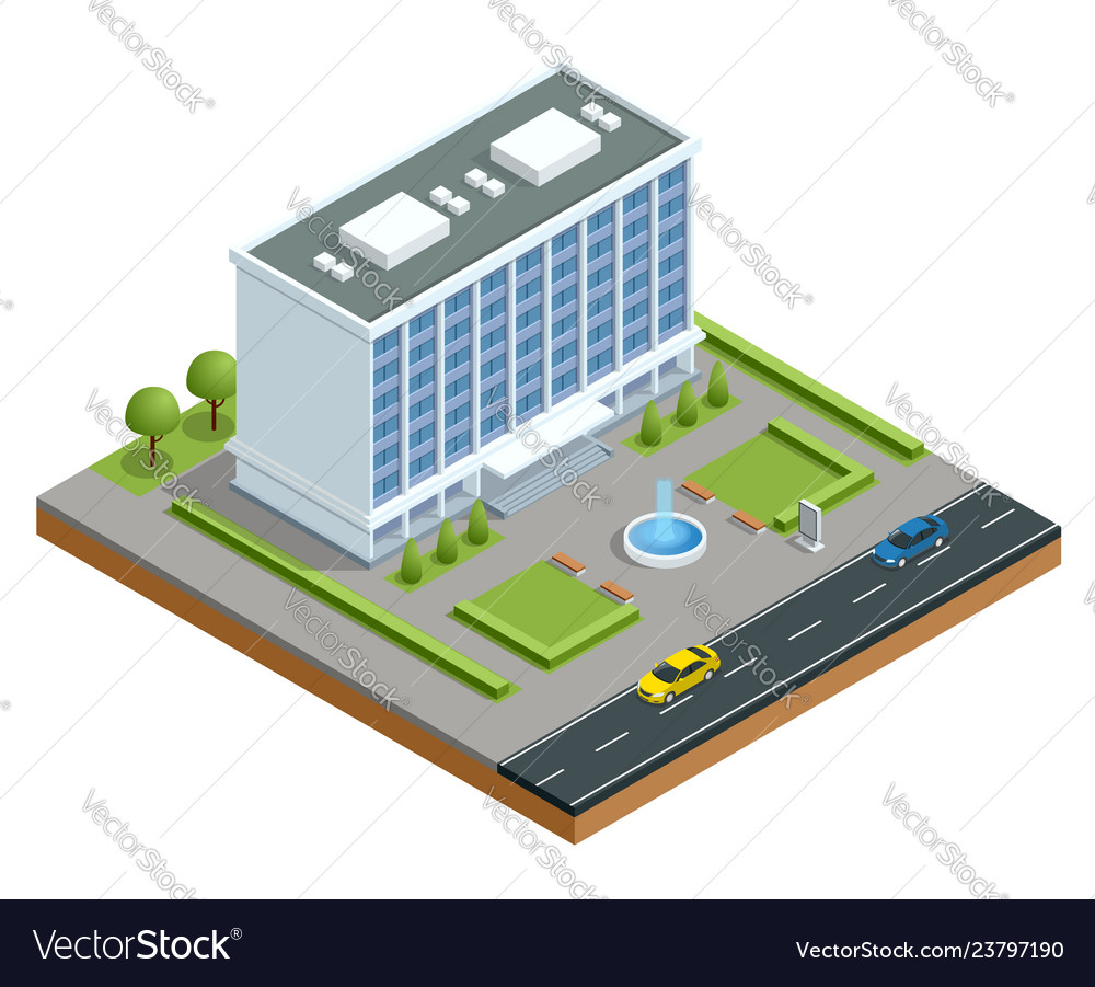 Isometric modern business center with parking and