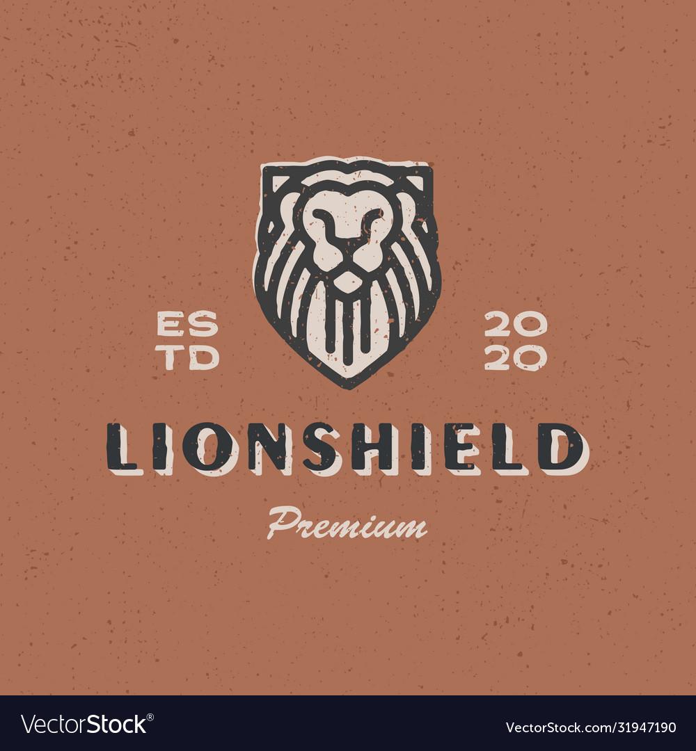 Lion shield vintage logo icon