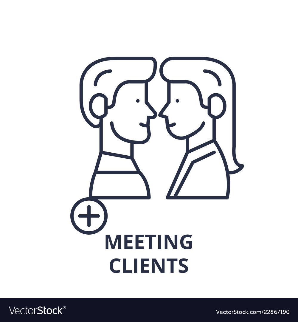 Meeting clients line icon concept meeting clients