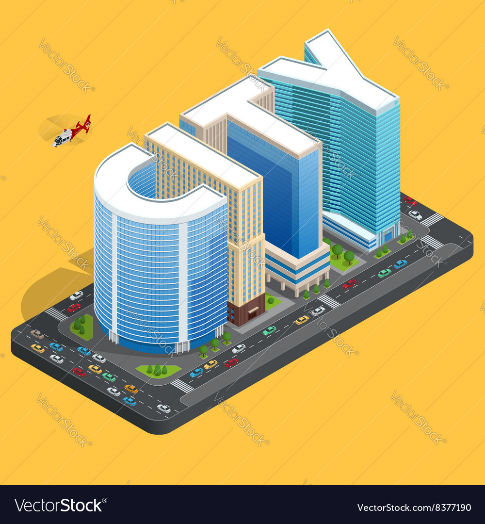 Modern high quality city building Isomeric flat
