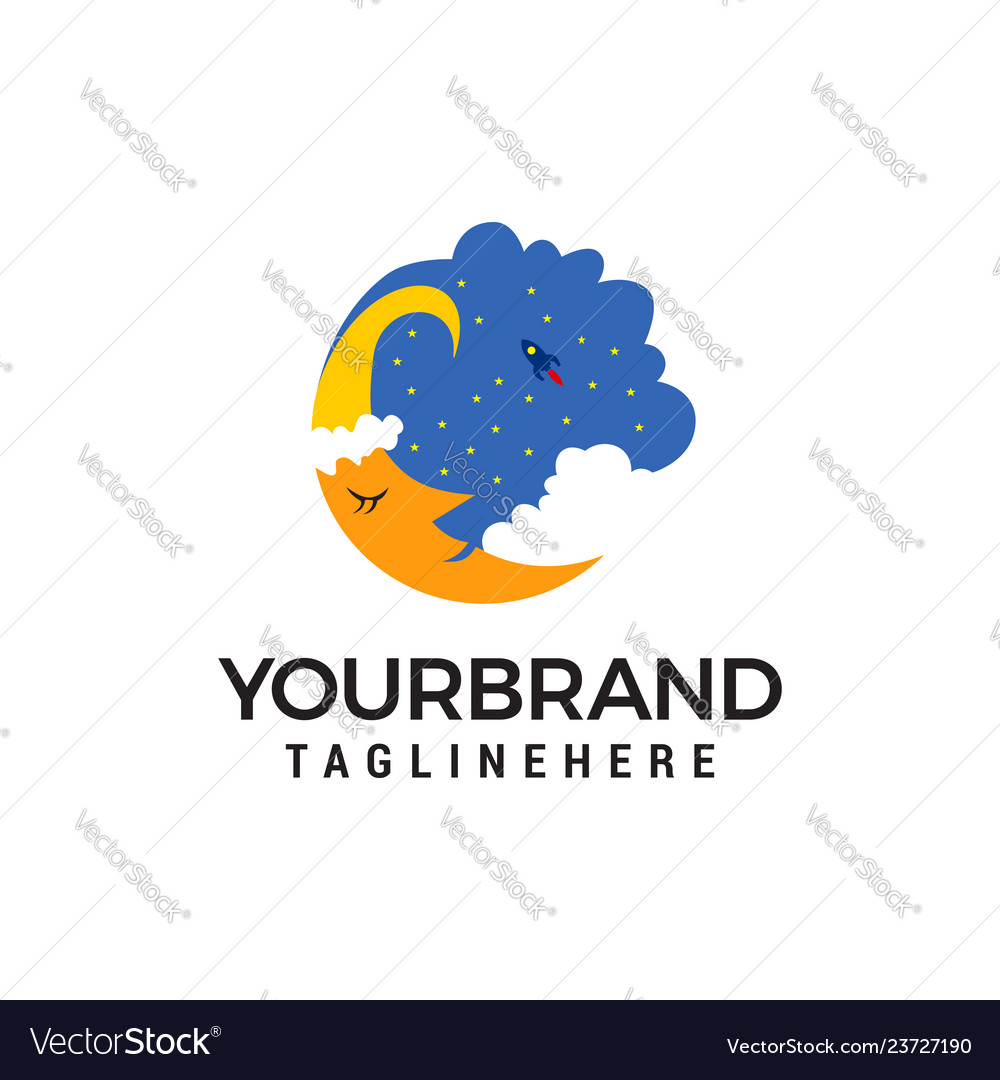 Moon sky logo template icon design