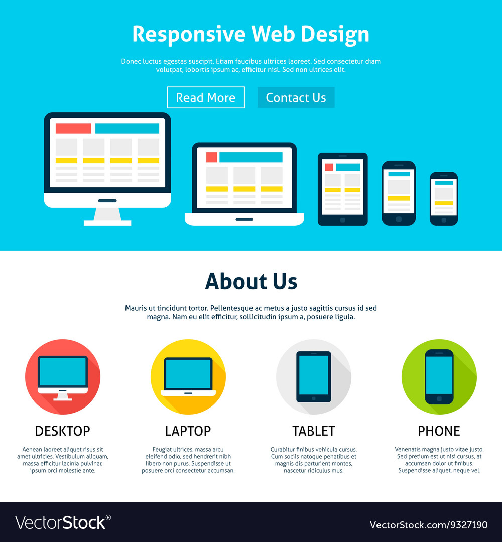 Responsive Flat Web Design Template Royalty Free Vector