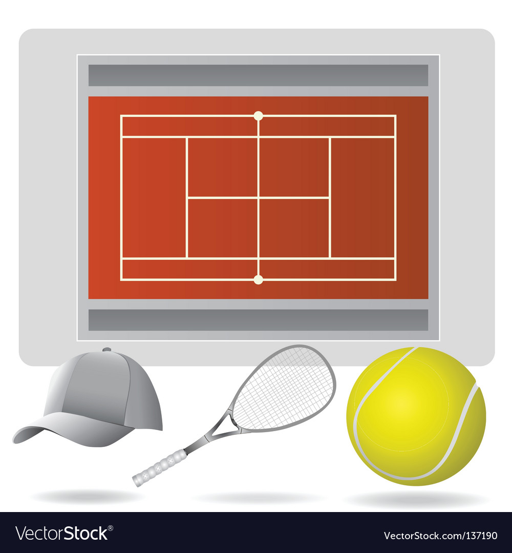 Tennis field and accessories vector image