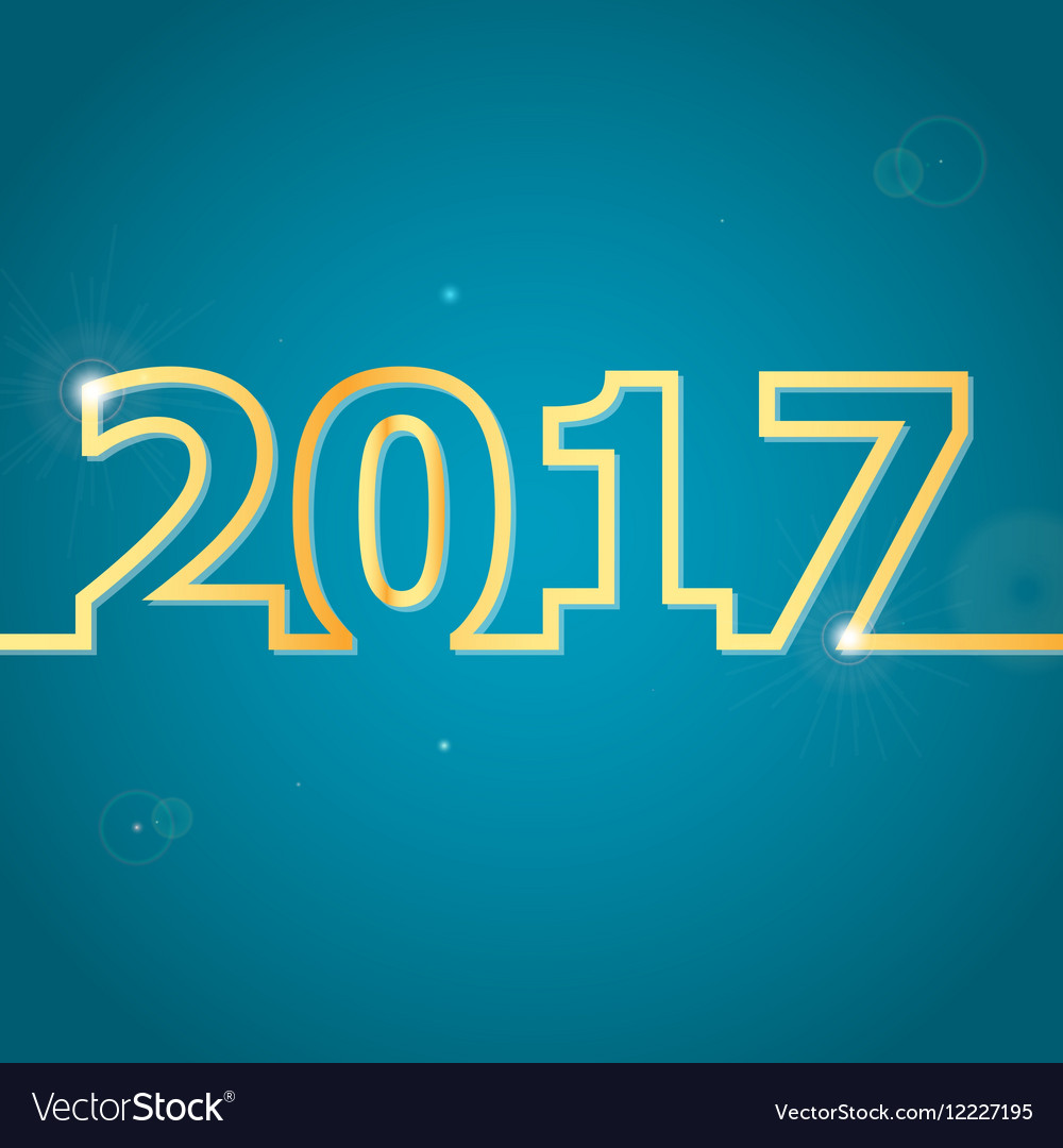 2017 Happy New Year on blue background