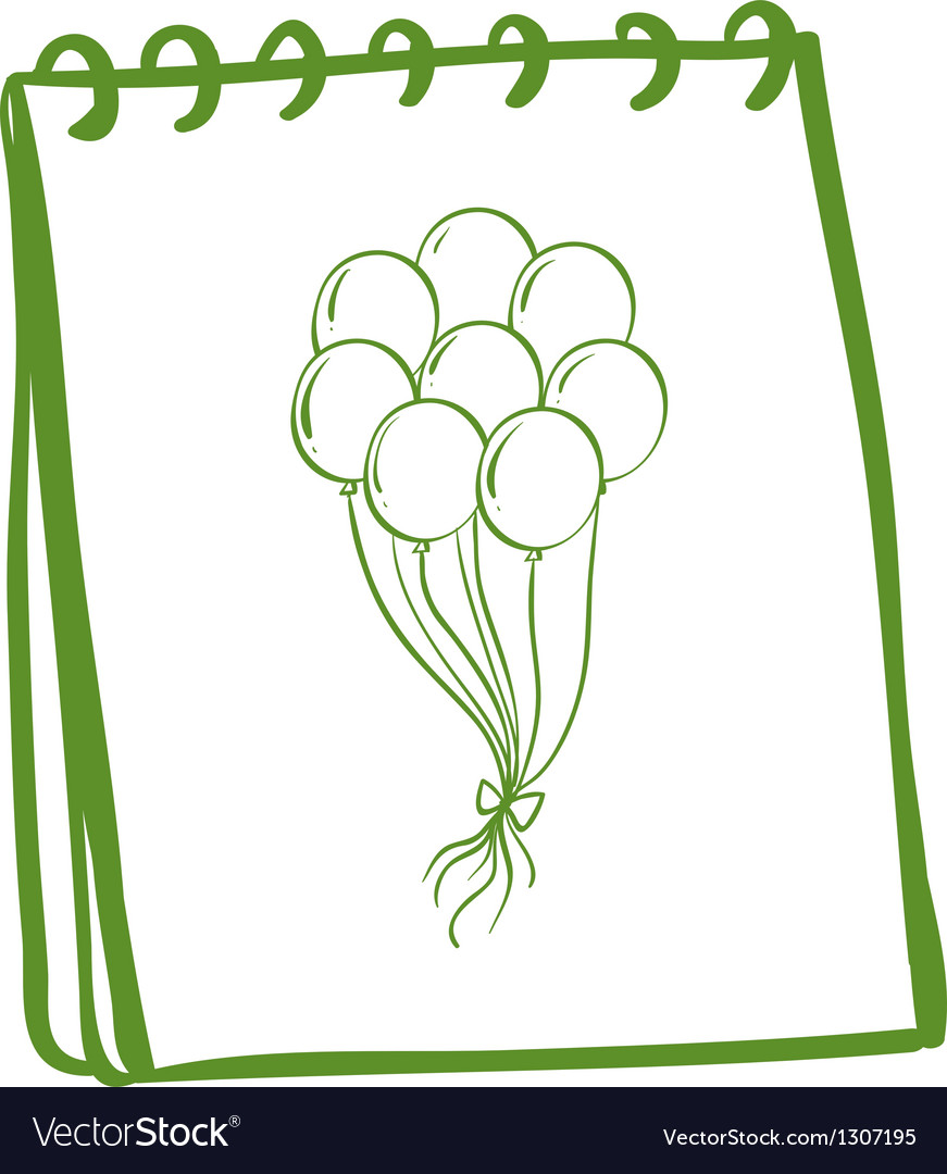 A green notebook with balloons at the cover page