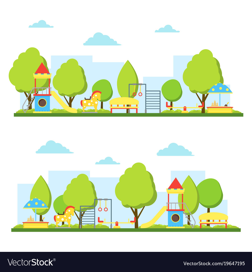 Cartoon playground in city landscape set vector image