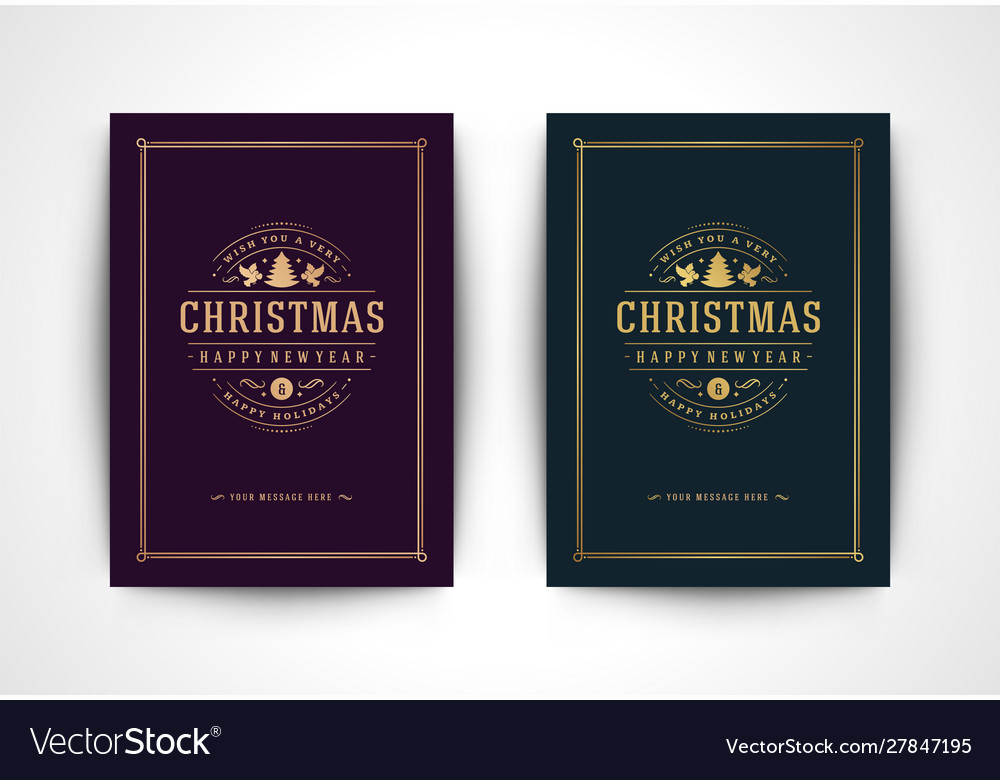 Christmas greeting card with tree silhouette and