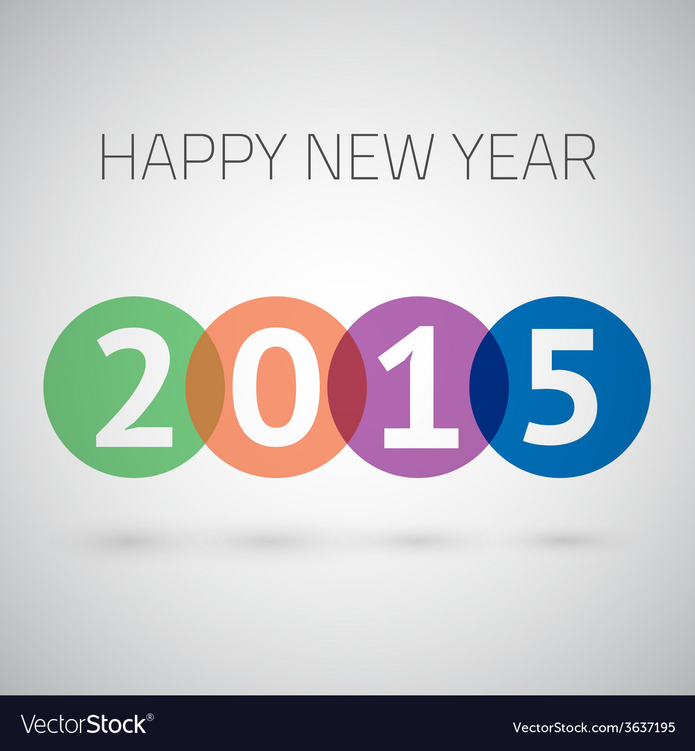 Happy New Year 2015 Colorful Circles Background