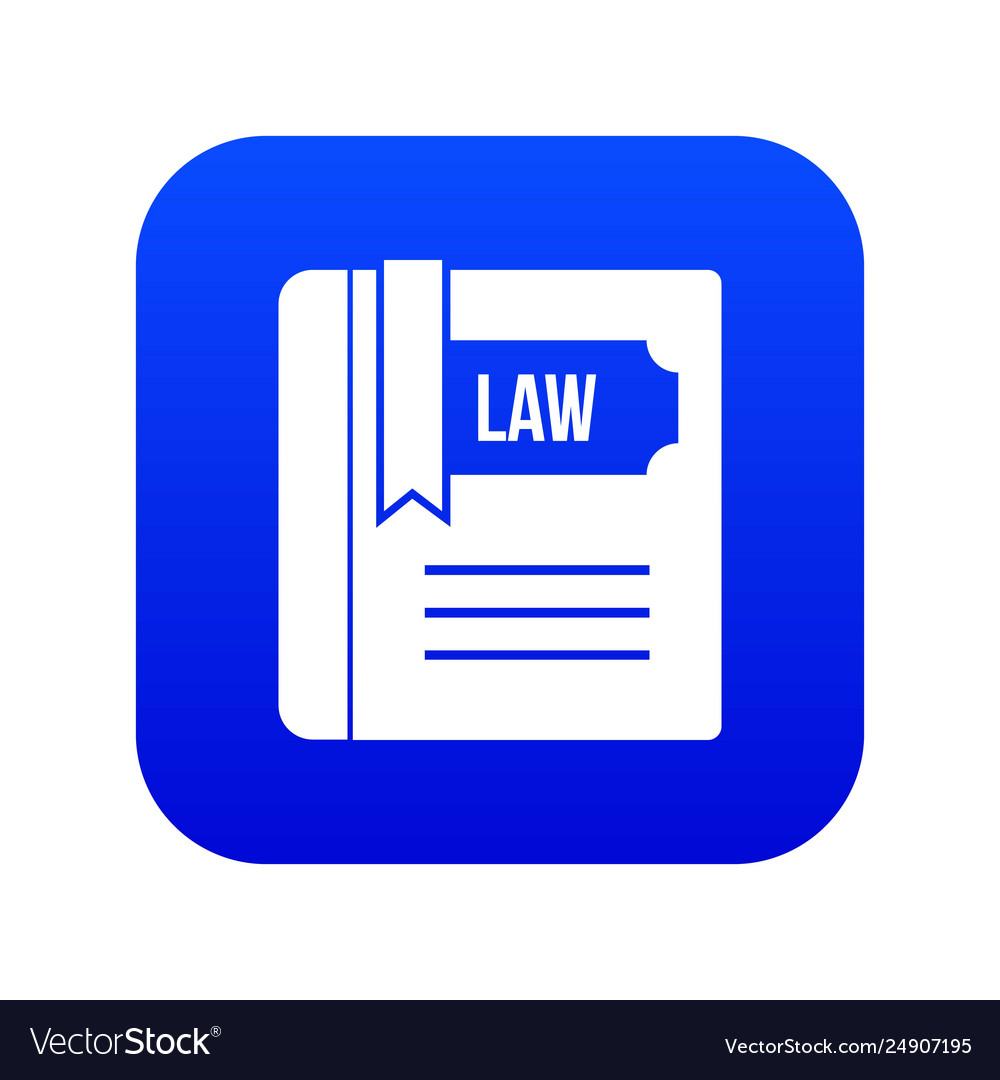 Law book icon digital blue