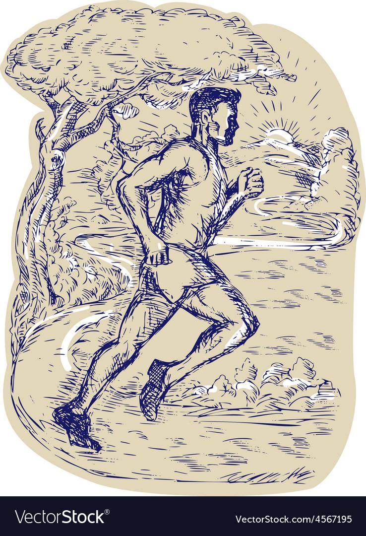 Marathon Runner Running Drawing vector image
