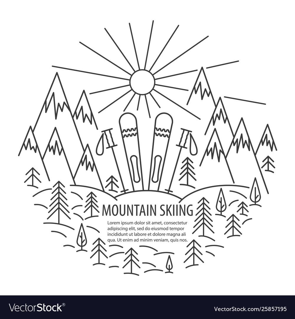 Mountains skiing line icon