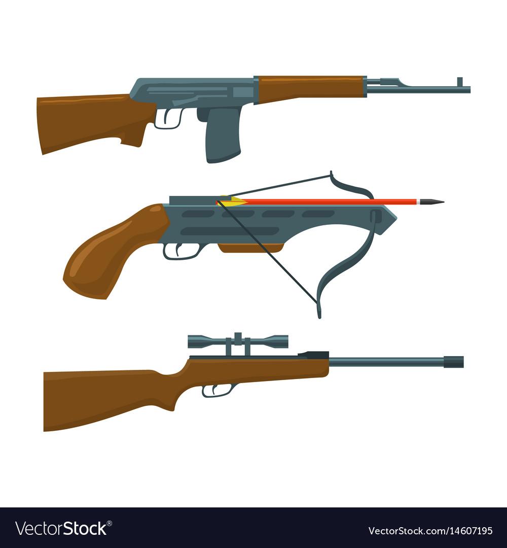 Rifle submachine gun crossbow vector image