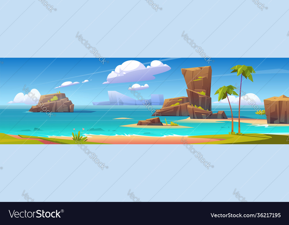 Sea beach trees and rock islands in water