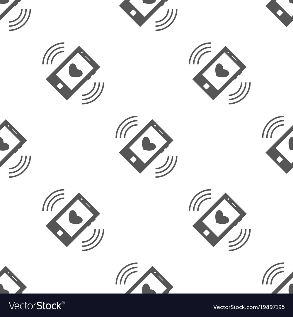 Seamless Phone With Heart Pattern Love Symbol Vector Image
