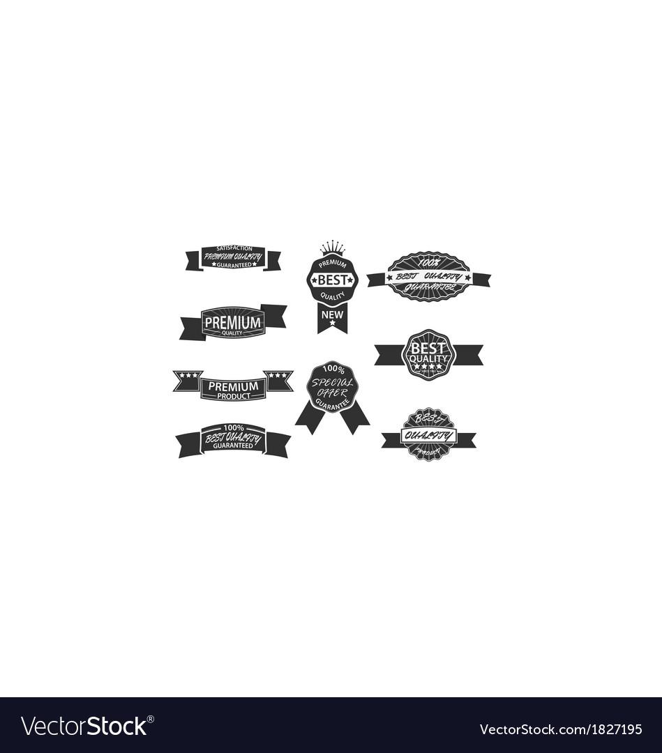 Set of 9 Retro Premium Quality Labels and Badges vector image