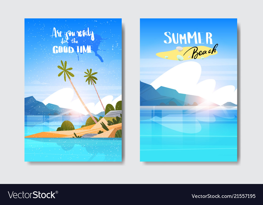 Set summer sunrise landscape tropical beach badge
