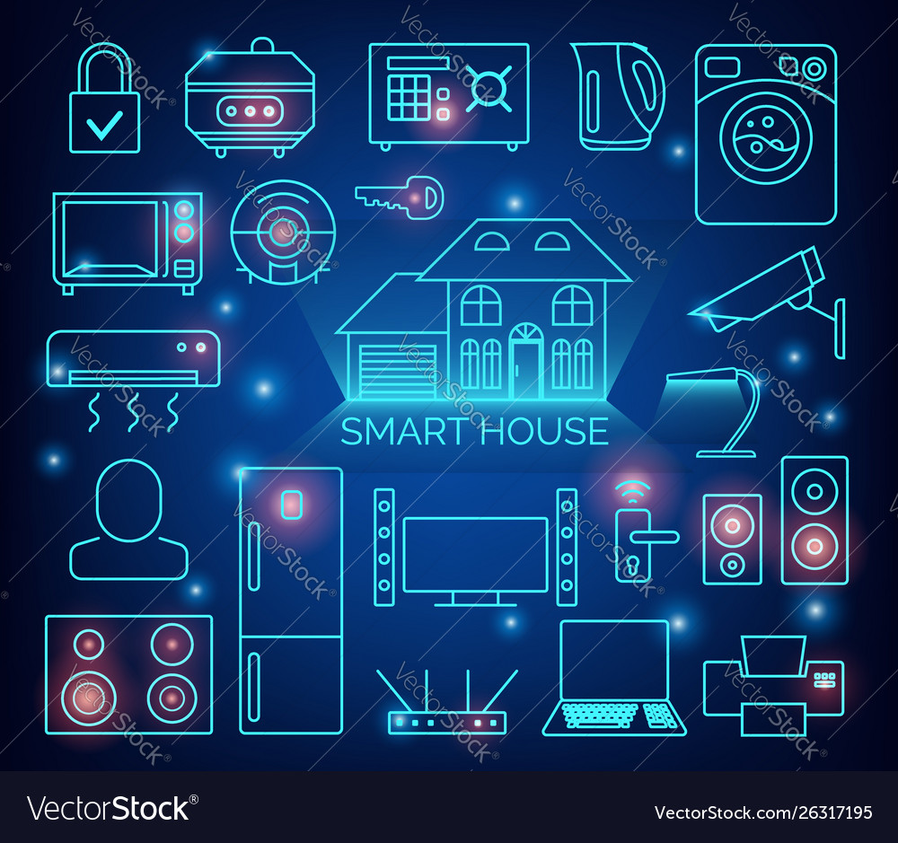 Smart home automation background connected