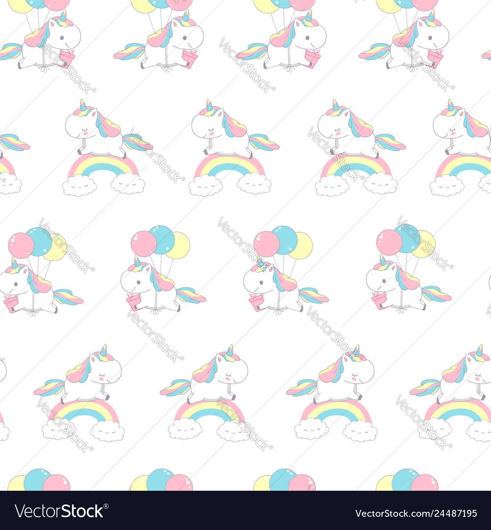 Unicorn over rainbow fashion seamless pattern for