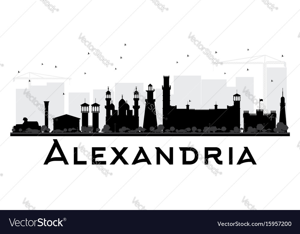 Alexandria city skyline black and white silhouette vector image