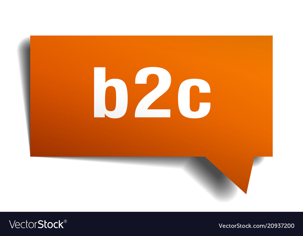 B2c orange 3d speech bubble