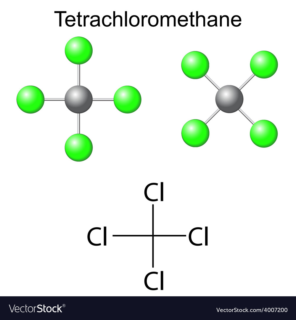 Chemical Formula Of Carbon Tetrachloride Vector Image