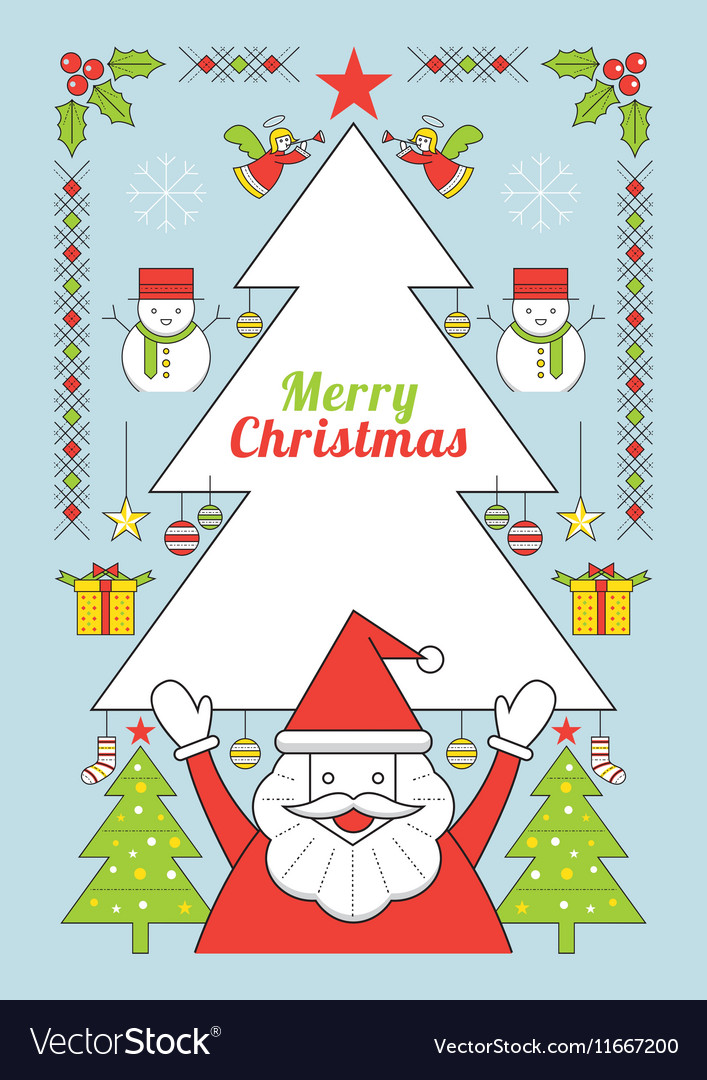 Christmas and Santa Clause Line Style Poster vector image