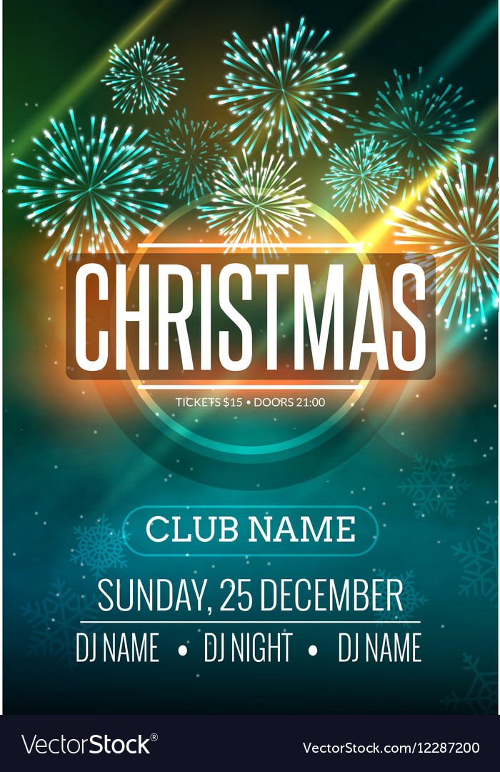 Christmas Party Poster.Christmas Party Poster Design With Fireworks Light