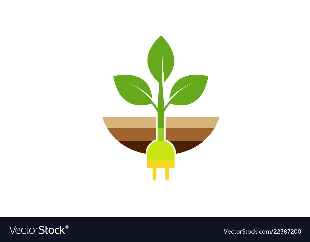 Creative plug planet leaf dirt logo