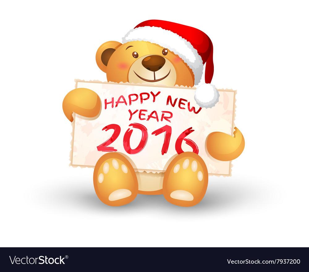 cute christmas teddy bear with the 2016 vector image