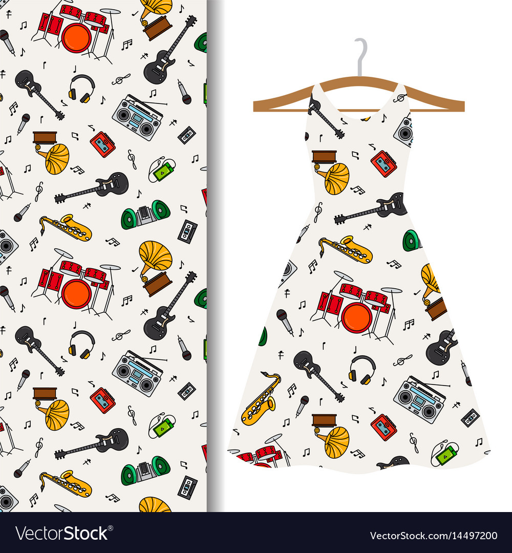 Dress fabric with music instrument design
