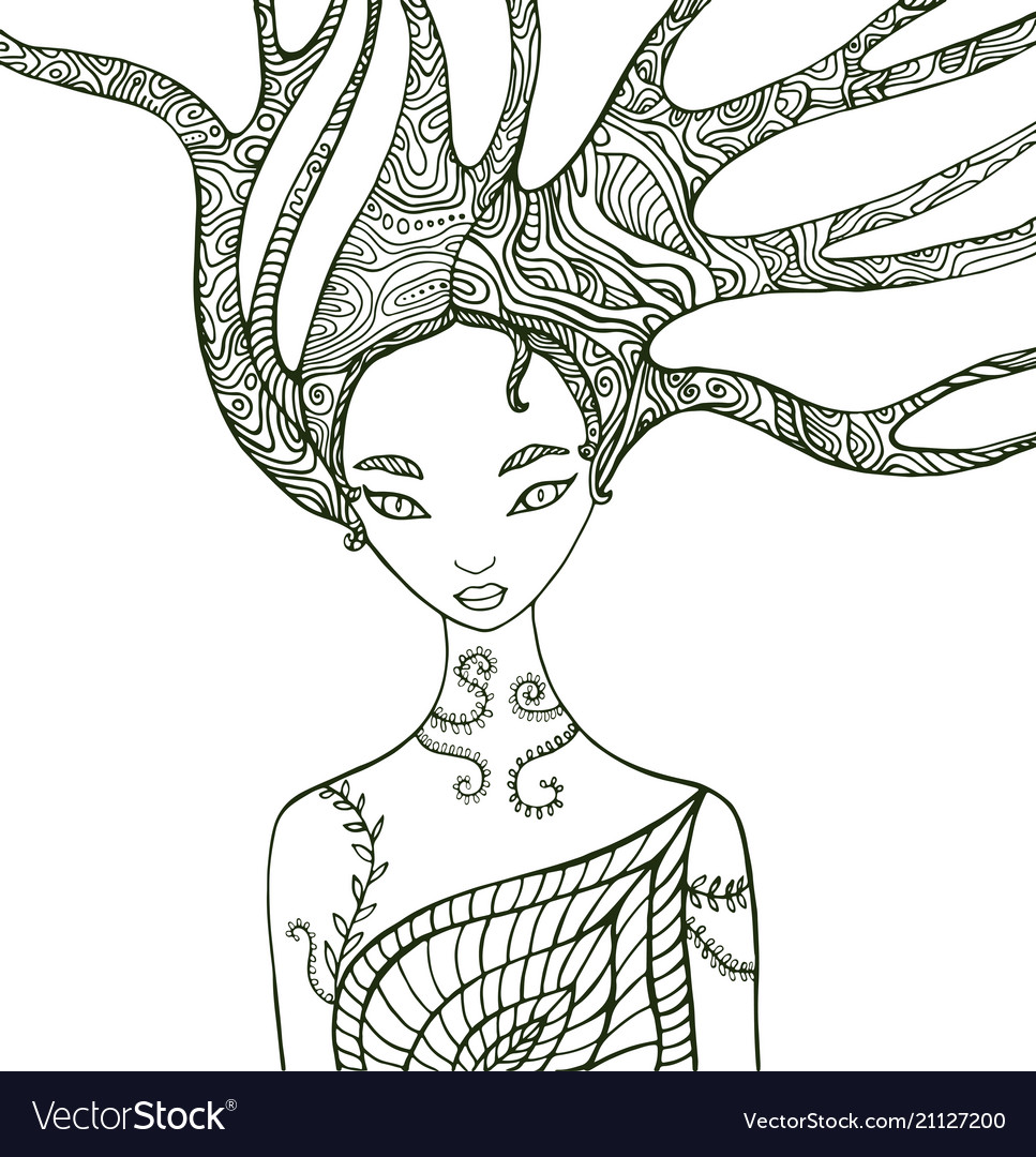 Fantasy Forest Woman Coloring Page
