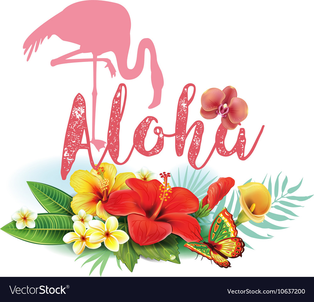 Flamingoes and Arrangement from tropical flowers