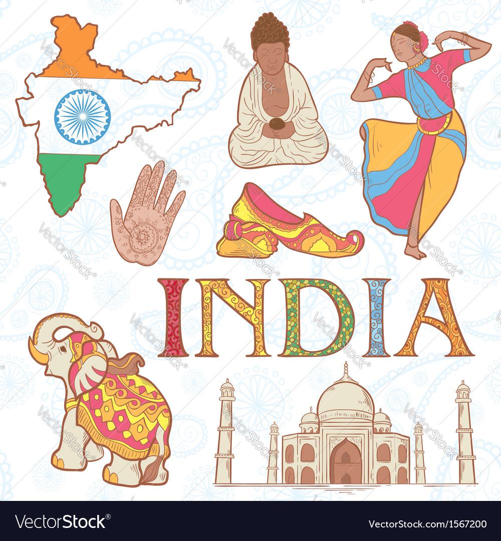 Indian colorful set symbols