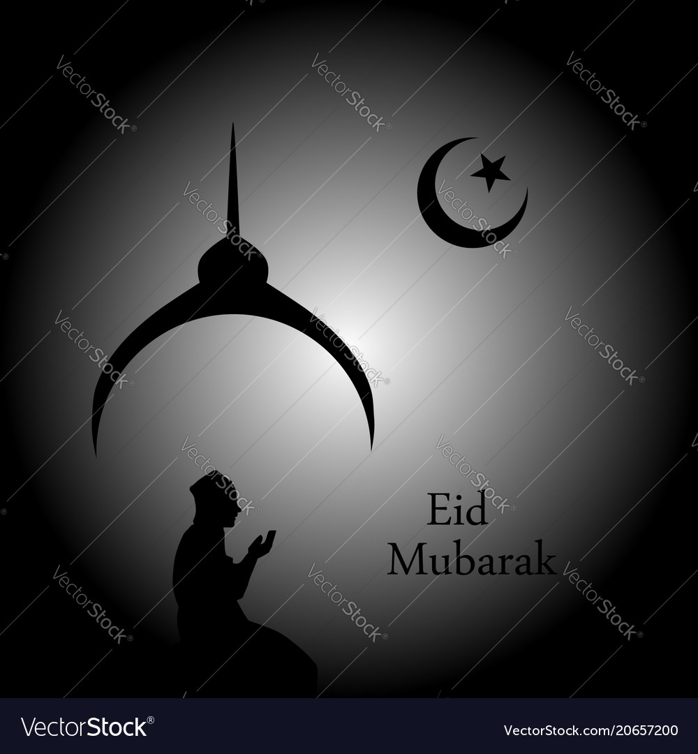 Man praying under the moon- card for eid