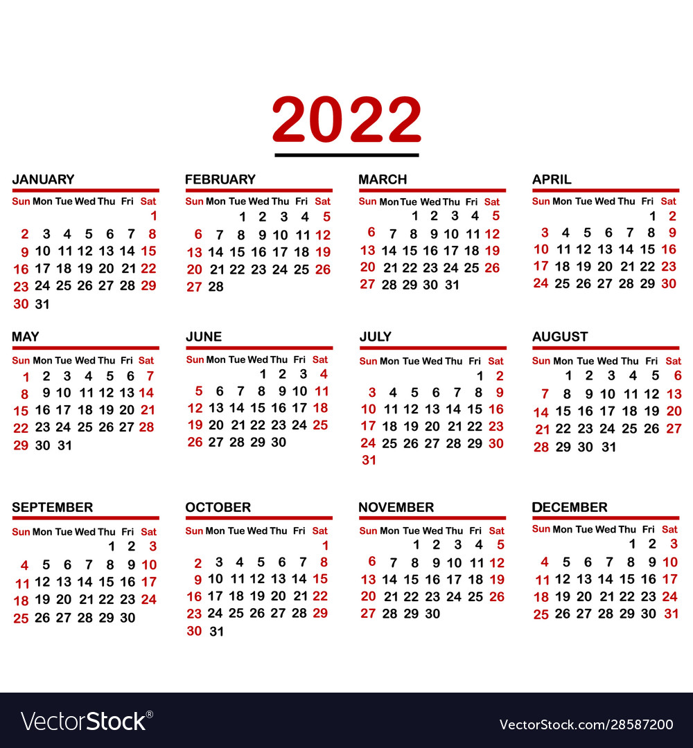 Calendar Year 2022.Minimalist Calendar Year 2022 Royalty Free Vector Image