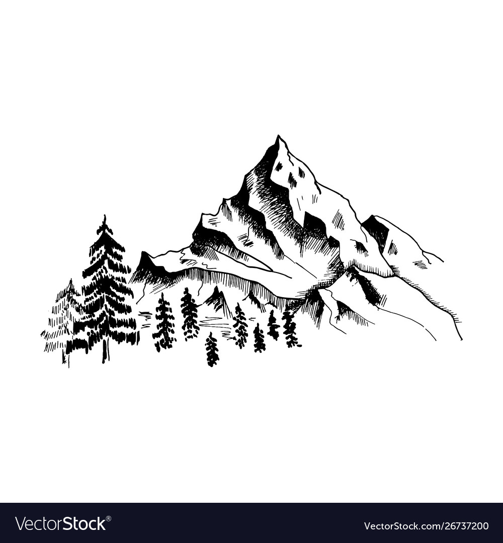 Mountain Sketch Hand Drawn Black Mountains And Vector Image Learn how to draw cartoon mountains from all around the world. vectorstock