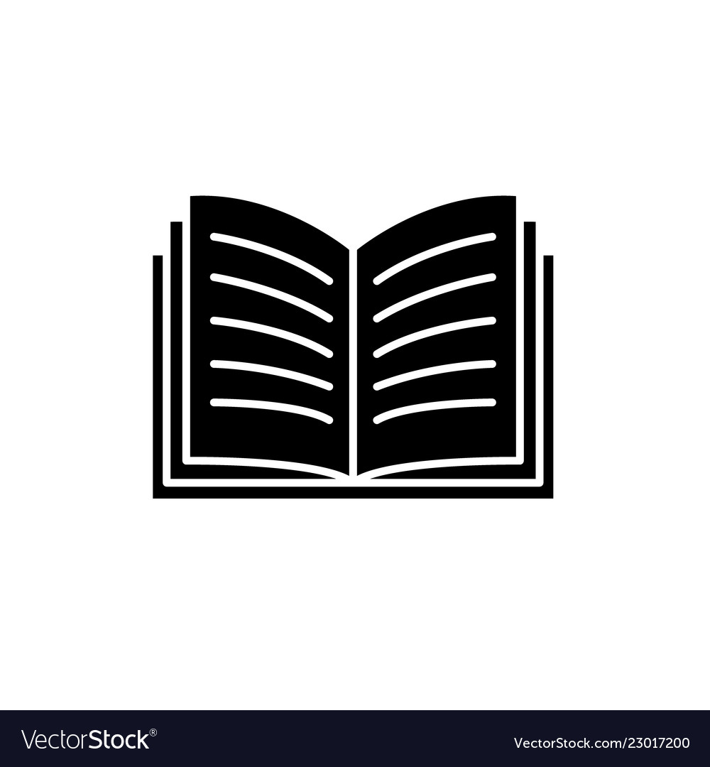 Open book black icon sign on isolated
